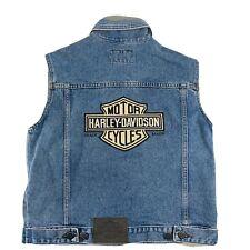 Harley Davidson WM Size Medium M Primary Denim Jean Vest Bar & Shield 98361-98VW