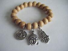 Spiritual Inspirational Healing Stacking Bracelet Om Buddha ECO Wood Beads Yoga