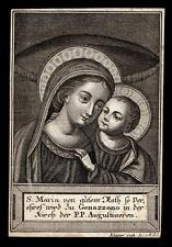 santino incisione 1700 MADONNA DEL BUON CONSIGLIO in GENAZZANO  klauber