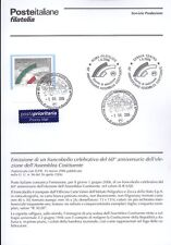 ITALIE 2006 ASSEMBLÉE CONSTITUANTE BULLETIN COMPLET DE TIMBRES FDC
