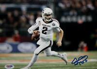 Johnny Manziel Autographed Texas A&M 8x10 Running White Jersey Photo- PSA/DNA