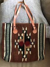 El Paso Saddle Blanket Wool Aztec Bag Leather Straps