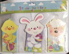 Set di 3 Pasqua in cartone Trattare Borse Con Colorate Luminose Animale Designs