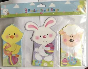 set of 3 cardboard Easter treat bags with bright coloured animal designs