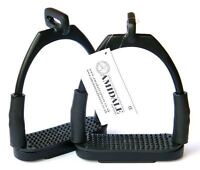 AMIDALE OFFSET EYE FLEXI SAFETY STIRRUPS OPTIMUM LEG POSITION HORSE RIDING BLACK