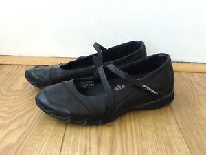 SKECHERS - Black Leather Mary Jane Ballerina Trainers Shoes UK6 EU39