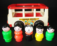 VINTAGE FISHER-PRICE LITTLE PEOPLE PLAY FAMILY WHITE MINI SCHOOL BUS #141 B