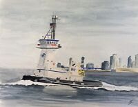 """Original watercolor painting Tugboat NOT A PRINT 12""""x15"""" Signed by Zacaffeine"""