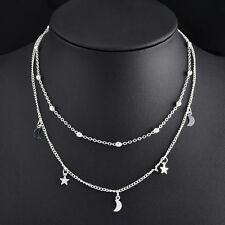 Silver Plated Mini Crescent Moon Star Pendant Double Layer Necklace Hippy Boho