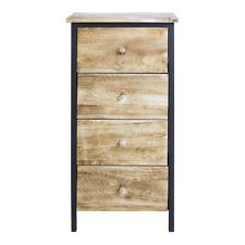 Mobili Rebecca® Cabinet Bedside Storage unit 4 Drawers Wood Brown Urban Bedroom