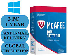 McAfee Total Protection 3 PC 1 YEAR GLOBAL KEY 2019 EMAIL ONLY NO CD!!!
