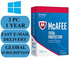 McAfee Total Protection 3 PC 1 Jahr weltweite Schlüssel 2018 Email nur ohne CD!!!