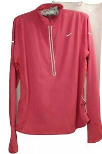 Womens Nike Pink Running Top Xl gym yoga dance Dri Fit Pockets Reflective Zip