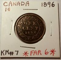 1896 CANADA LARGE CENT PENNY - *******RARE Far 6 Variety COIN*******