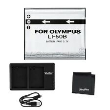 LI-50B Replacement Battery + USB Dual Charger for Select Olympus Cameras + Bonus