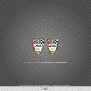 07161 Major Nichols Bicycle Head Badges Stickers - Decals - Transfers