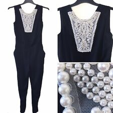 M&S Jumpsuit Trouser UK 10 Black Pearl Tapered Leg Summer POCKETS Playsuit Smart
