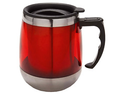 Red Insulated Hug Travel Mug Vacuum Flask Handle Stainless Steel Sealed Cup