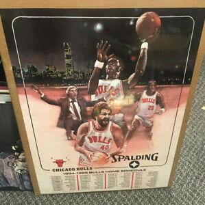 1984 SPALDING CHICAGO BULLS HOME SCHEDULE ADVERTISNG POSTER MICHAEL JORDAN