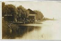 1907 Real Photo Postcard / Rochester NY Boat House / On Channel