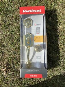 Kwikset Montara Polished Brass Single Cylinder Door Handleset w/ Juno Entry Knob