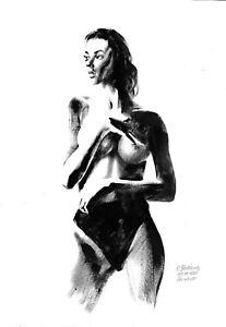 original painting A3 490OJ art by samovar oil dry brush female nude Signed 2021