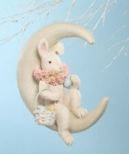 Bethany Lowe Spring Decor Easter Bunny on Moon Paper Mache/Resin,17'&#039 ; x 15''
