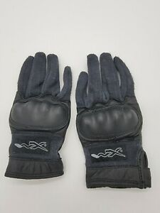 US Military Black Combat Gloves w/ Knuckles made with Kevlar and Leather - MED