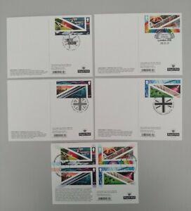 2021 United Kingdom : A Celebration Set Of 5 PHQ Postcards 5 Diff Pmk USED BACK