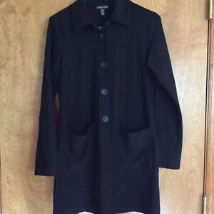 Eileen Fisher Tunic Jacket Top Black Large L Button Front (ABx)