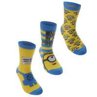 Official MINIONS Kids Infant Boys Socks 3 Pair UK C3 - C7 EU 19 - 26 S171