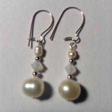 Freshwater Pearl Opal Swarovski 925 Sterling Silver Earrings Beautiful Jewelry