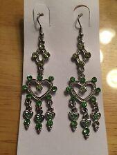 Heart Chandelier Hook Dangle Earrings Nwt Light Green Crystal Silver