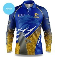 AFL 2020 Long Sleeve Fishing Polo Tee Shirt - West Coast Eagles - Adult Youth