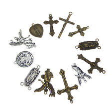 12pcs Vintage Metal Alloy Rosary Cross Jesus Pendants Charms Assorted Mix Crafts