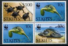 St Kitts: 1995 WWF Green Sea Turtle Block (384a) MNH