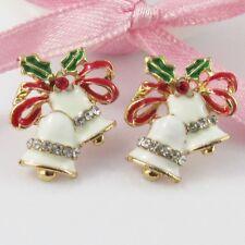 Gold Plated Enamel & Rhinestone White Christmas Bells Stud Earrings