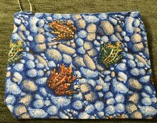 Handmade Zipper Pouch Frogs On Blue Background Fabric Small Travel Clutch Bag
