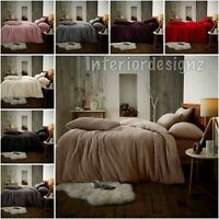 NEW Teddy Soft Warm Fleece Bedding Duvet Cover Pillowcases 8 Colours All Sizes