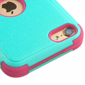 iPod Touch 5th 6th 7th Generation - Turquoise Blue Pink Hybrid Impact Armor Case