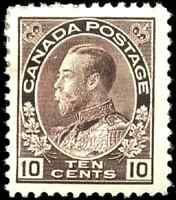 Canada #116 mint F-VF OG HR 1912 King George V 10c plum Admiral CV$260.00