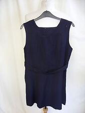 """Mini Vestido Damas Vintage 1960s Azul Marino Delantal cintura busto 32"""" 32"""" con cinturón 7509"""