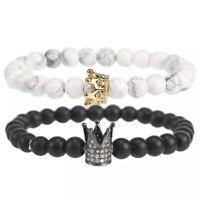 Queen King Couple Bracelet White Howlite Lava Rock Stone Bracelet Crown Charm !!