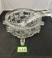 "VINTAGE Heavy Quality GLASS FRUIT BOWL / SALAD BOWL 10.5 "" Diameter With Servers"