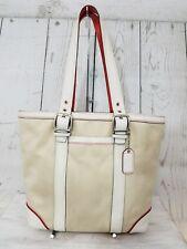 Women's Coach F10711 Hampton Beige Canvas Ivory Leather Shoulder Bag Purse