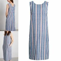 NEW Seasalt Relaxed Blue Stripe Cotton Linen Summer Beach Cabin Dress £69.95