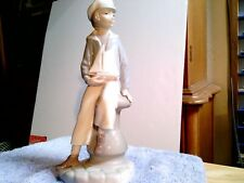 Vintage Lladro Figurine Of Boy With Pound Sailing Boat ,