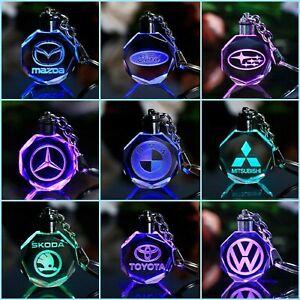 New Key Chain Keyrings LED Car Logo Fairy Light Changing Keychains Bike Metal