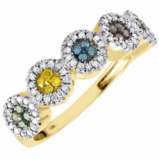 Yellow Gold Cocktail Ring 0.40 Ct Diamond Multicolor Fashion Right Hand Band 10K