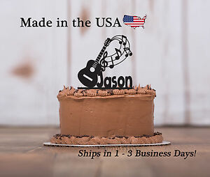 Acoustic Guitar Cake Topper, Musician, Band Music Notes Birthday Keepsake-LT1196